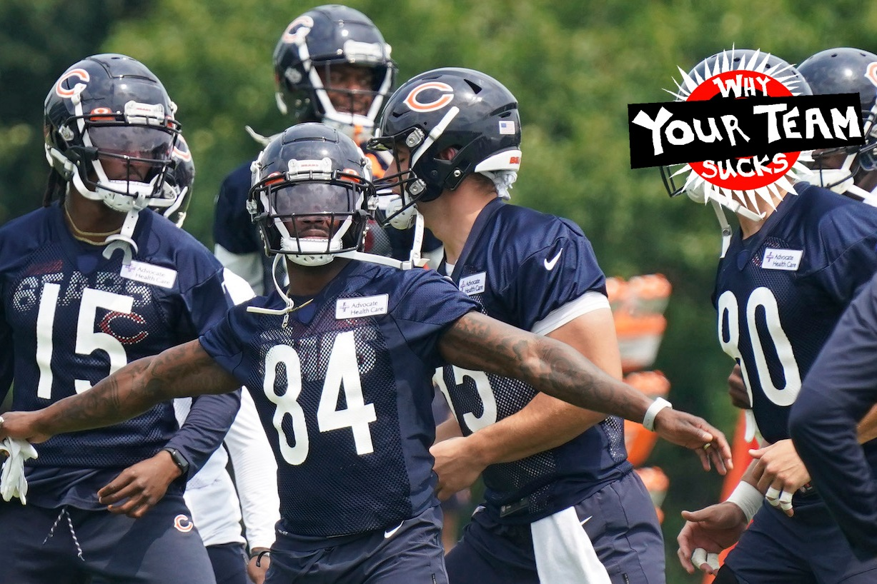 LAKE FOREST, ILLINOIS - JULY 28: Marquise Goodwin #84 of the Chicago Bears stretches during the Chicago Bears training camp at Halas Hall on July 28, 2021 in Lake Forest, Illinois. (Photo by Nuccio DiNuzzo/Getty Images)