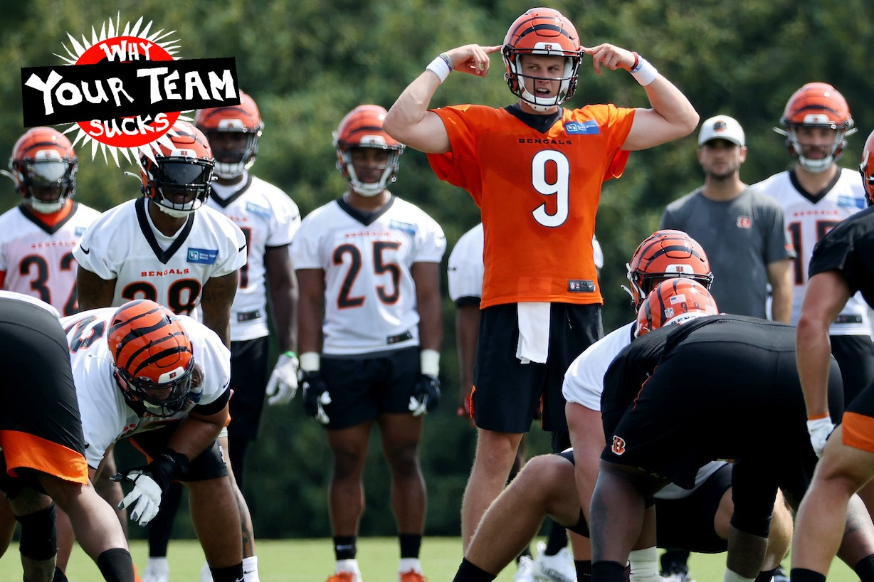 CINCINNATI, OHIO - JULY 28: Joe Burrow #9 of the Cincinnati Bengals calls out instructions during training camp on July 28, 2021 in Cincinnati, Ohio. (Photo by Dylan Buell/Getty Images)