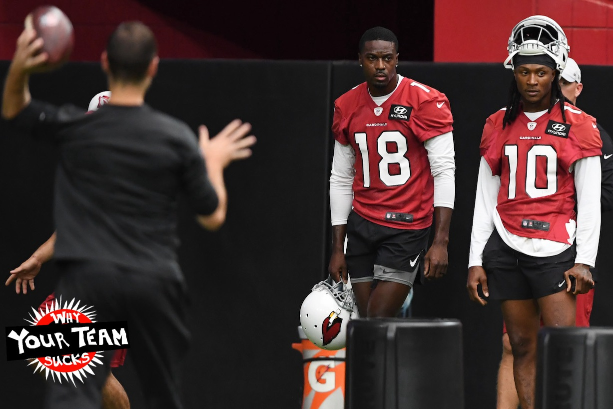GLENDALE, ARIZONA - JULY 28: DeAndre Hopkins #10 and A.J. Green #18 of the Arizona Cardinals look on during passing drills at Training Camp at State Farm Stadium on July 28, 2021 in Glendale, Arizona. (Photo by Norm Hall/Getty Images)