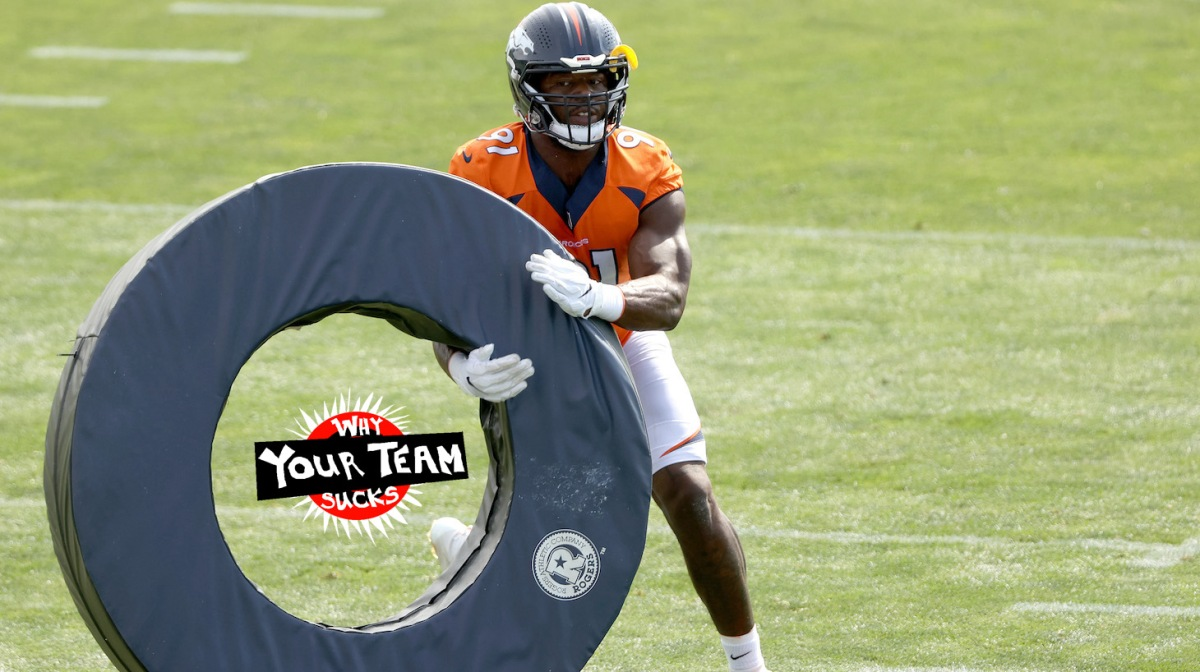 ENGLEWOOD, COLORADO - JULY 30: Andre Mintze #91 practices during the Denver Broncos Training Camp at UCHealth Training Center on July 30, 2021 in Englewood, Colorado. (Photo by Matthew Stockman/Getty Images)