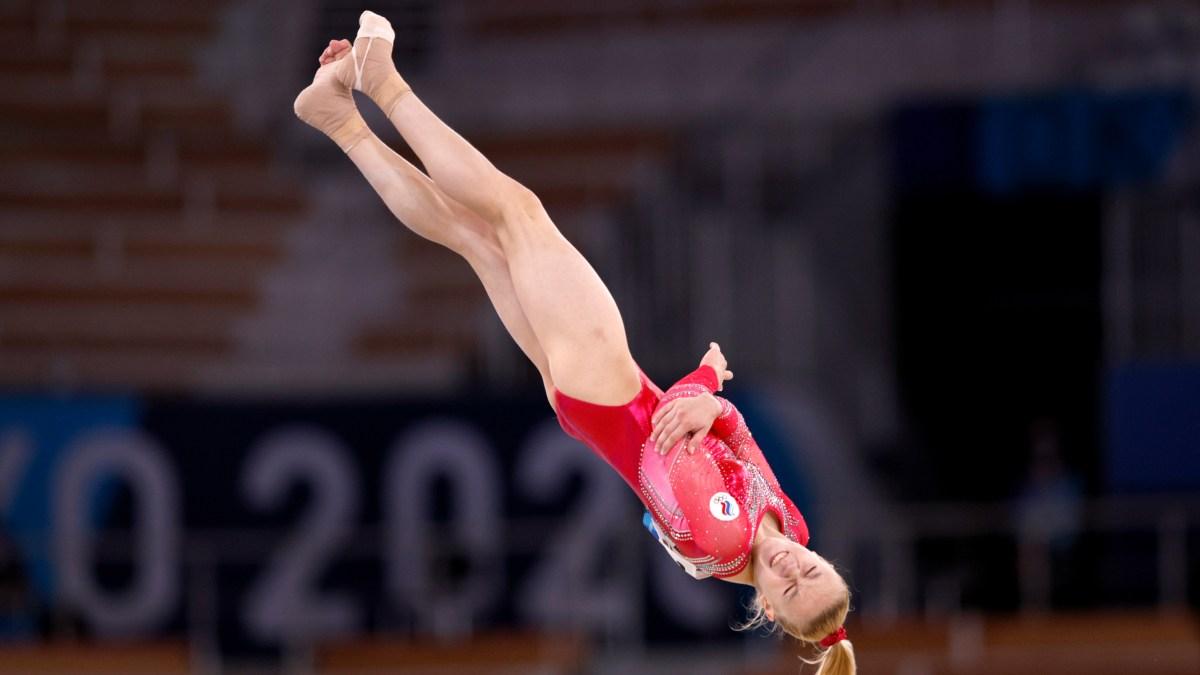 Russian gymnast Viktoriia Listunova competes at the 2021 Olympics in Tokyo