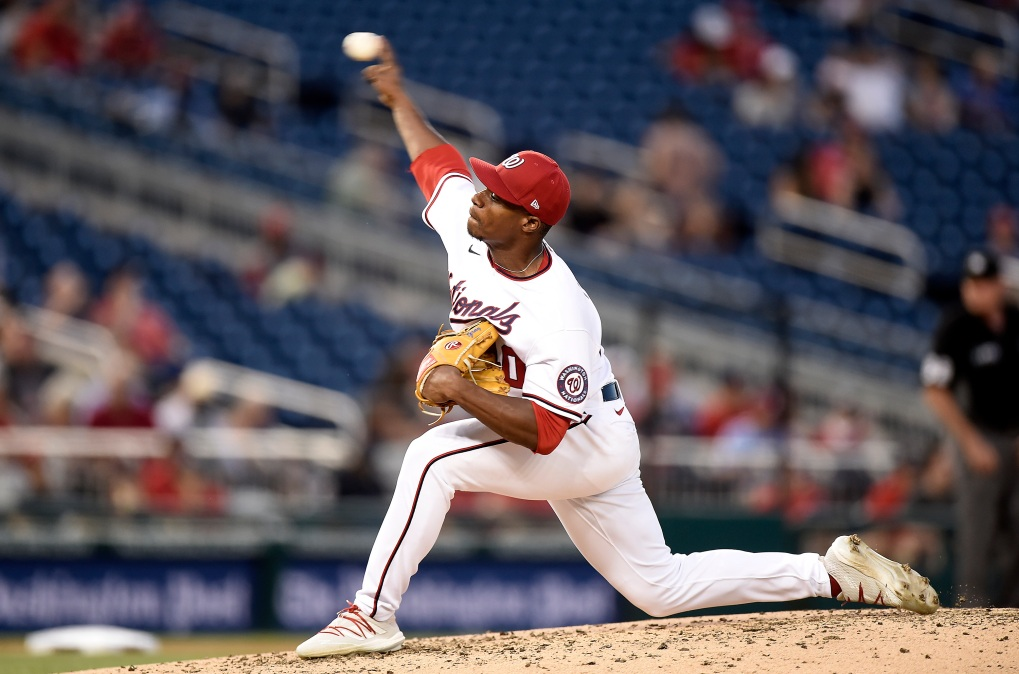 Josiah Gray of the Washington Nationals pitches in the fifth inning against the Philadelphia Phillies.
