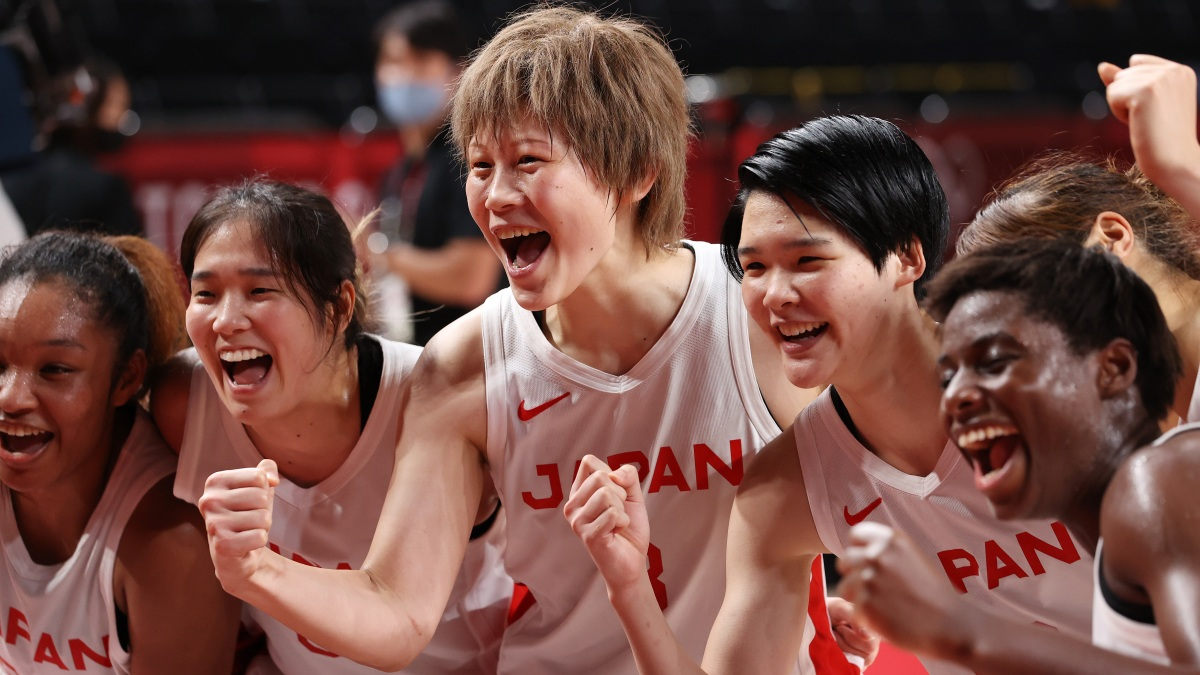 Team Japan celebrates their win in a Women's Basketball Semifinals game against France on day fourteen of the Tokyo 2020 Olympic Games at Saitama Super Arena on August 06, 2021 in Saitama, Japan.