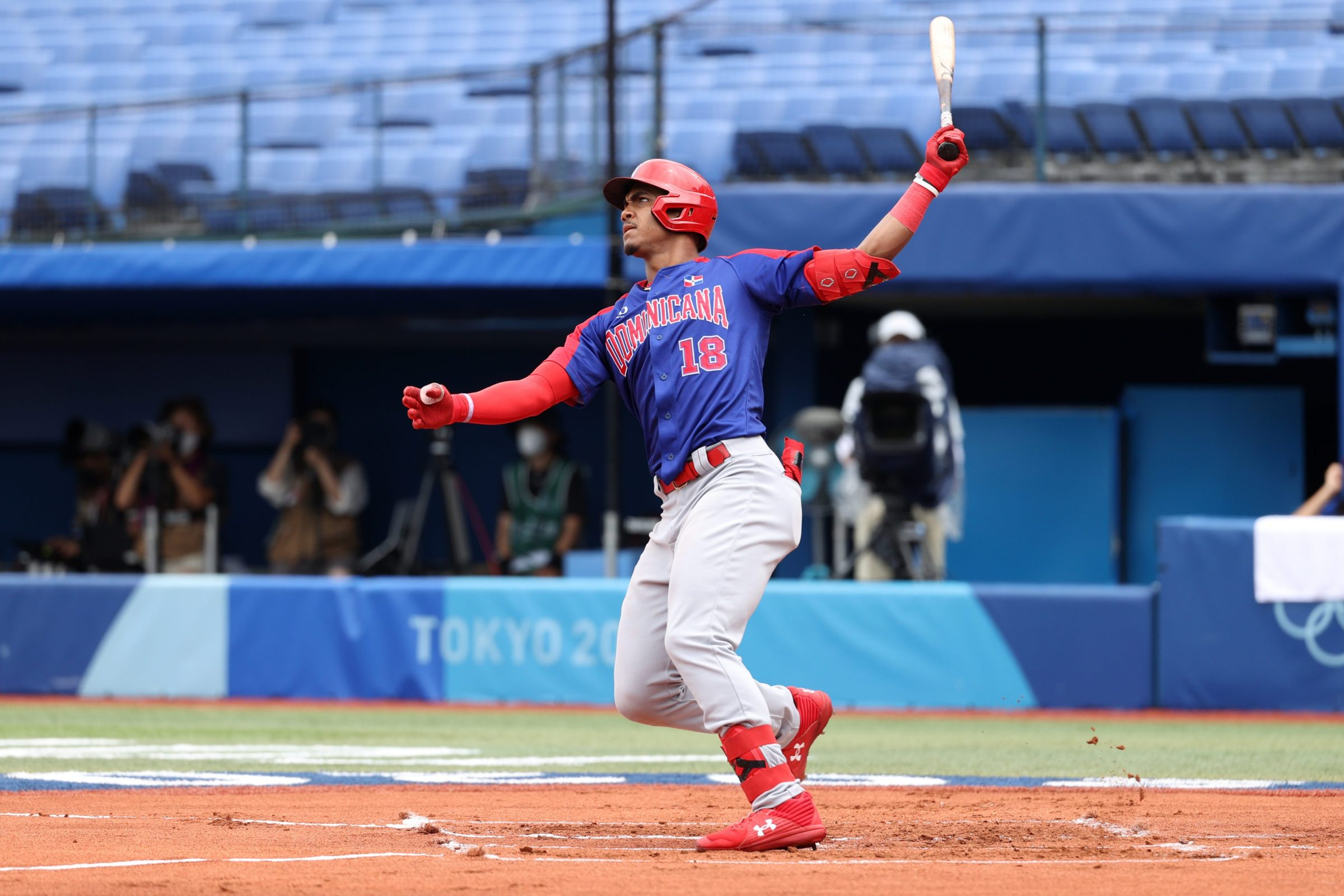 Julio Rodriguez, seen here hitting a homer against a much more intimidating pitch than the one described in this post, in the Tokyo Olympics.