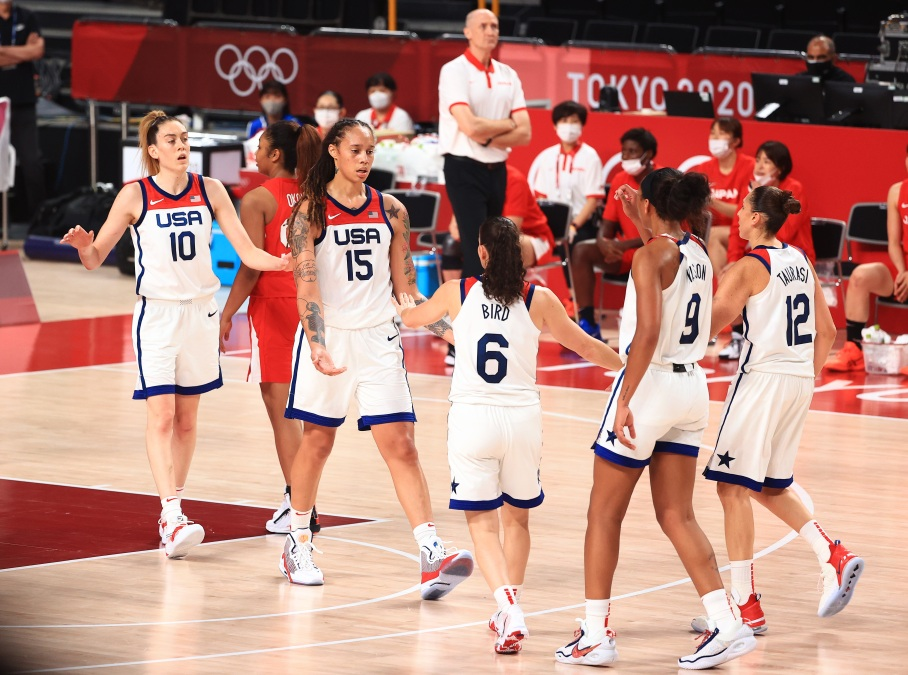 Team United States celebrates their lead against Team Japan in the Women's Basketball final game on day sixteen of the 2020 Tokyo Olympic games at Saitama Super Arena on August 08, 2021 in Saitama, Japan.