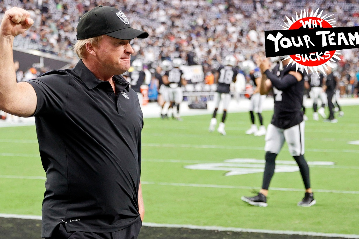 LAS VEGAS, NEVADA - AUGUST 14: Head coach Jon Gruden of the Las Vegas Raiders reacts to the crowd during warmups before a preseason game against the Seattle Seahawks at Allegiant Stadium on August 14, 2021 in Las Vegas, Nevada. The Raiders defeated the Seahawks 20-7. (Photo by Ethan Miller/Getty Images)
