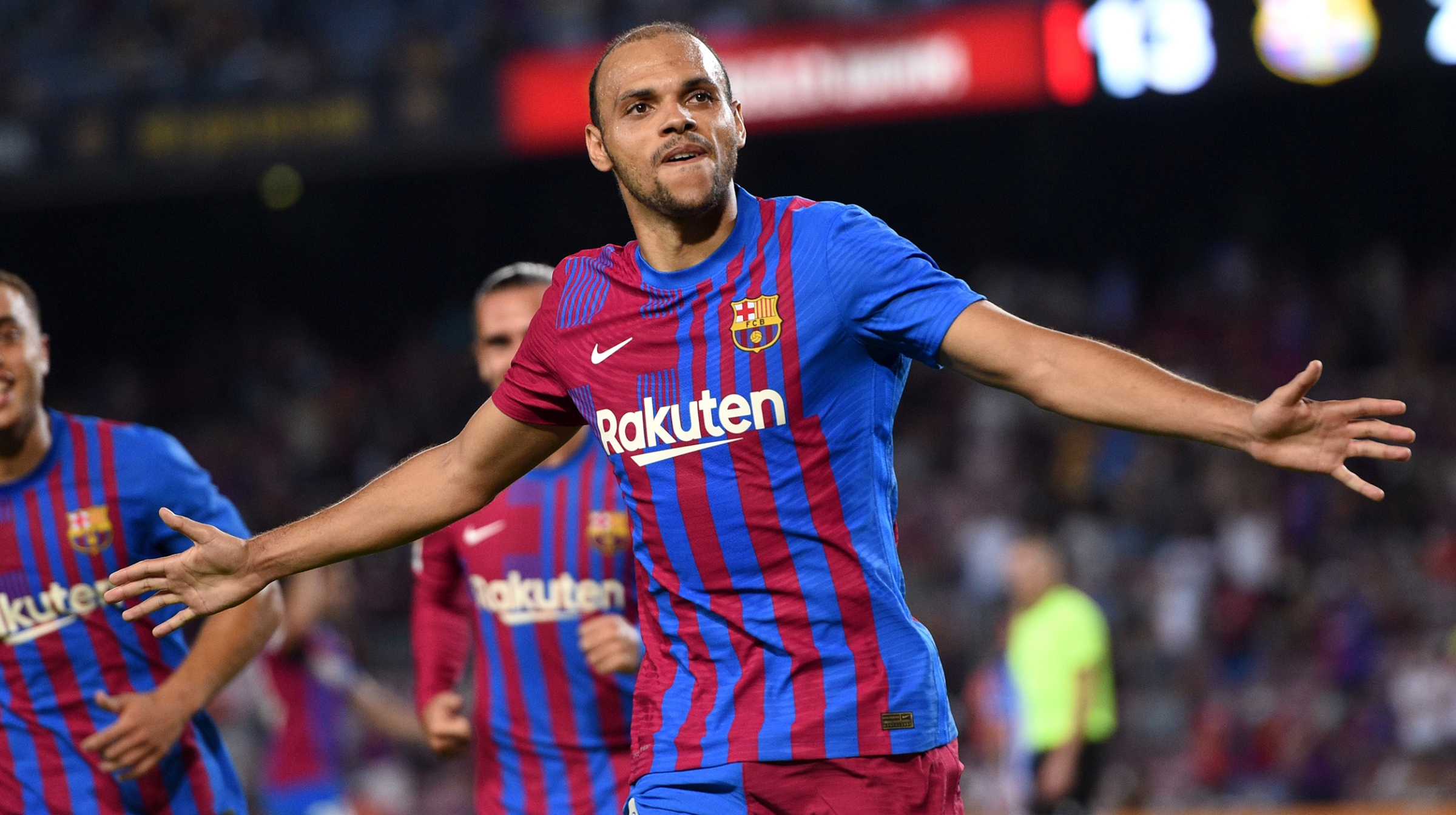 Martin Braithwaite of FC Barcelona celebrates after scoring their team's third goal during the LaLiga Santander match between FC Barcelona and Real Sociedad at Camp Nou on August 15, 2021 in Barcelona