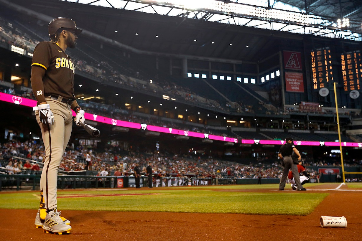 PHOENIX, ARIZONA - AUGUST 15: Fernando Tatis Jr #23 of the San Diego Padres waits to bat against the Arizona Diamondbacks during the first inning of the MLB game at Chase Field on August 15, 2021 in Phoenix, Arizona. (Photo by Ralph Freso/Getty Images)