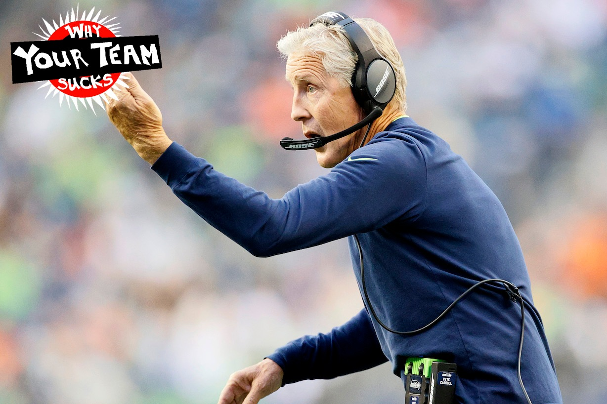 SEATTLE, WASHINGTON - AUGUST 21: Head coach Pete Carroll of the Seattle Seahawks reacts in the first quarter during an NFL preseason game against the Denver Broncos at Lumen Field on August 21, 2021 in Seattle, Washington. The Denver Broncos beat the Seattle Seahawks 30-3. (Photo by Steph Chambers/Getty Images)
