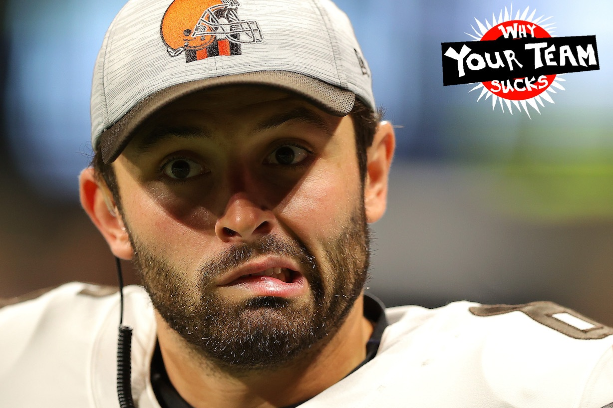 ATLANTA, GEORGIA - AUGUST 29: Baker Mayfield #6 of the Cleveland Browns reacts on the sideline during the first half against the Atlanta Falcons at Mercedes-Benz Stadium on August 29, 2021 in Atlanta, Georgia. (Photo by Kevin C. Cox/Getty Images)