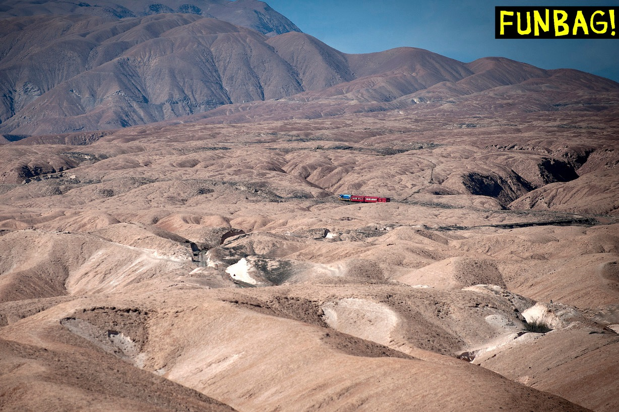 The Arica-La Paz train, connecting Chile and Bolivia, runs in Arica, some 2000 km north of Santiago, on May 13, 2013. AFP PHOTO / CLAUDIO SANTANA (Photo credit should read CLAUDIO SANTANA/AFP via Getty Images)