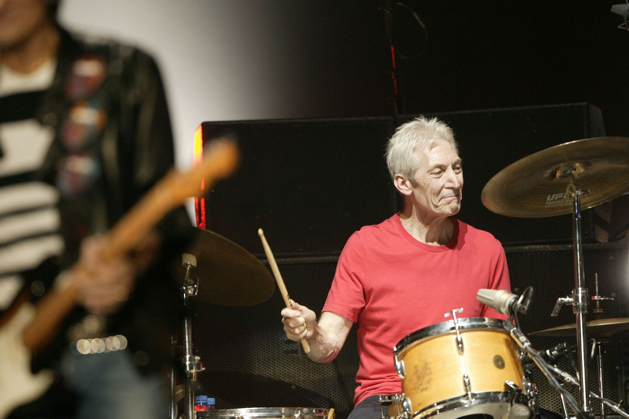 MUNICH, GERMANY - JUNE 4: Drummer Charlie Watts Perform at the opening night of the European leg of The Rolling Stones Forty Licks Tour at the Olimpiahalle Spiridon on June 4, 2003 in Munich, Germany. (Photo by Getty Images)