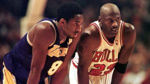Kobe Bryant (L) and Michael Jordan (R)