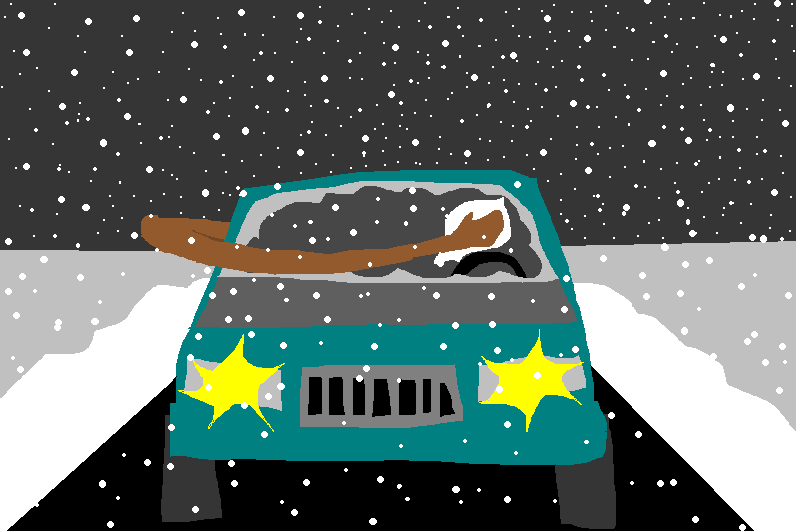 A drawing of Giannis cleaning the windshield from the interior of the car.