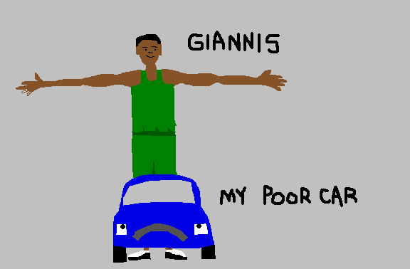 Figure 2: A highly scientific drawing of Giannis's size relative to my puny car.