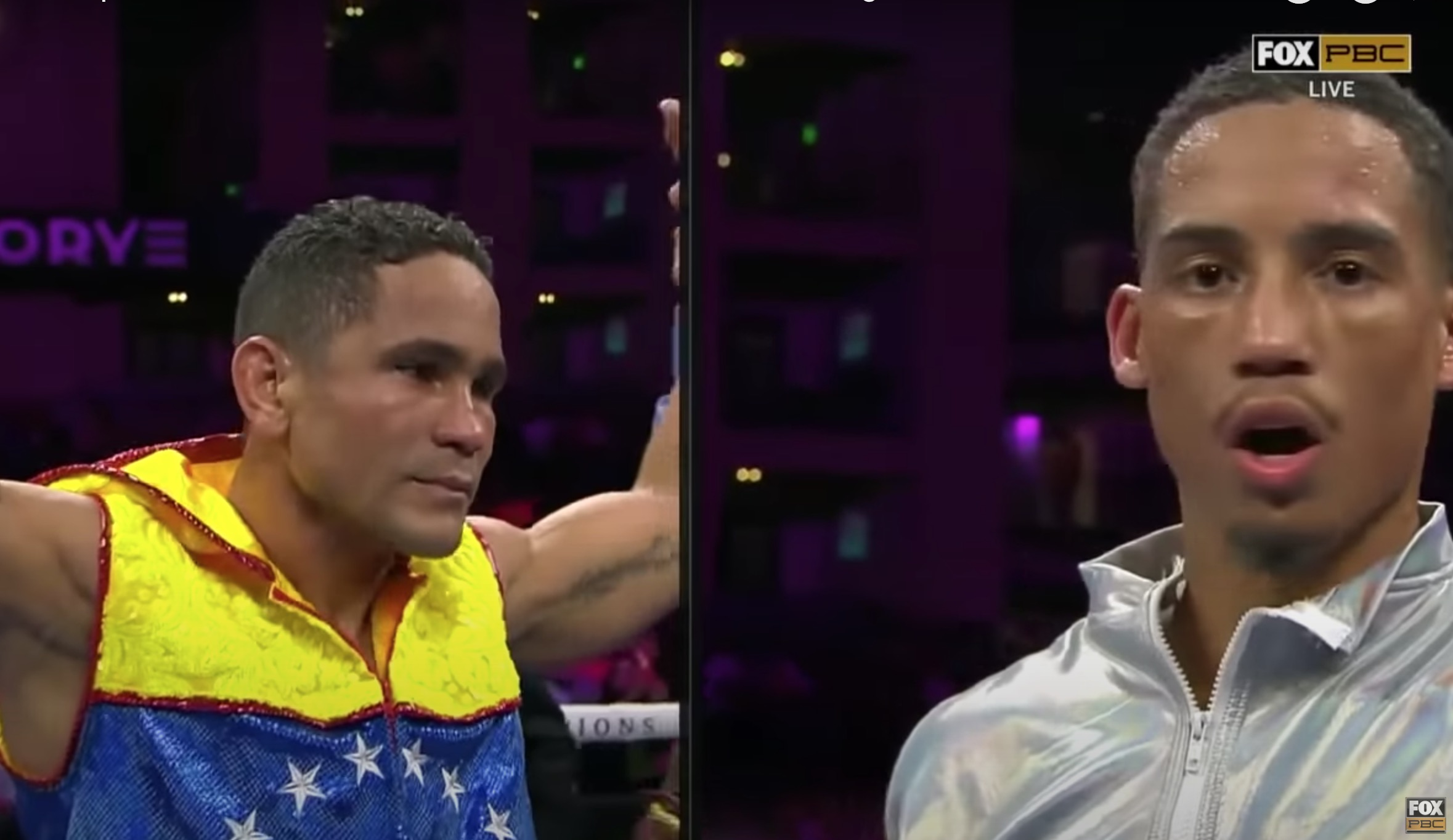 Mykal Fox is shocked at the outcome as the unanimous decision is read out.