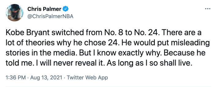 Chris Palmer claiming only he knows why Kobe Bryant changed jersey numbers from 8 to 24 after the 2004-05 NBA seaason