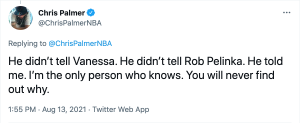 Chris Palmer reiterating that only he, and not Kobe Bryant's widow or longtime agent, knows why Bryant changed jersey numbers