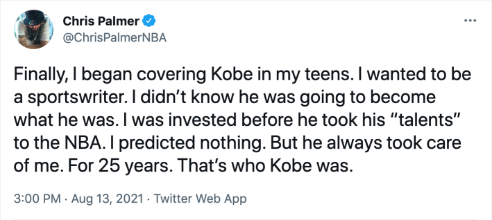 """Chris Palmer claiming that Kobe Bryant """"always took care"""" of him, presumably as an explanation for his earlier insane boast"""