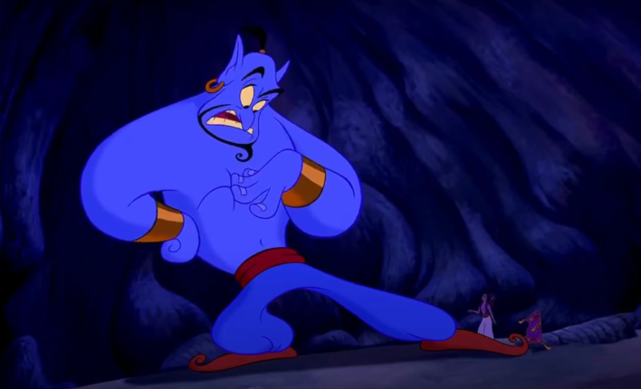 The genie from Aladdin wears the Dodgers' new blue pants.