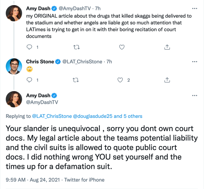 Stone and Dash exchange emojis and threats on Twitter.