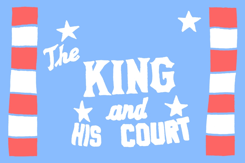 """An illustration by Adam Villacin of Eddie Feigner's barnstorming softball crew """"The King And His Court"""""""