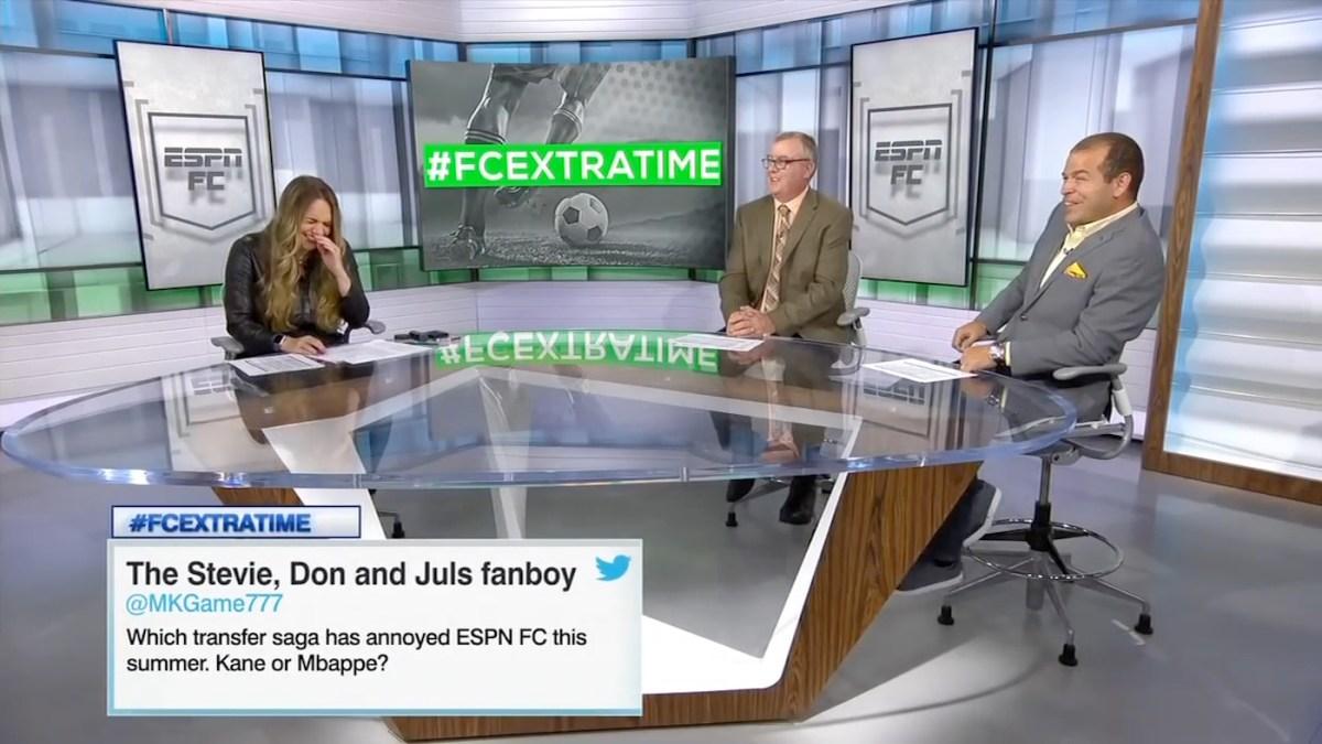 ESPN FC's Kay Murray and Alejandro Moreno laugh after Steve Nicol farts.