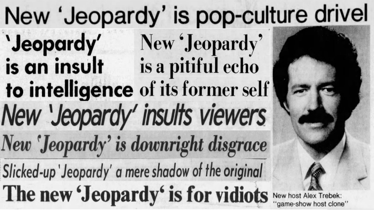 A montage of anti-Alex trebek headlines. they are all the ones listed in the previous paragraph.