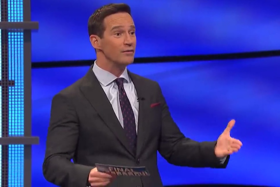 Mike Richards hosting Jeopardy last March