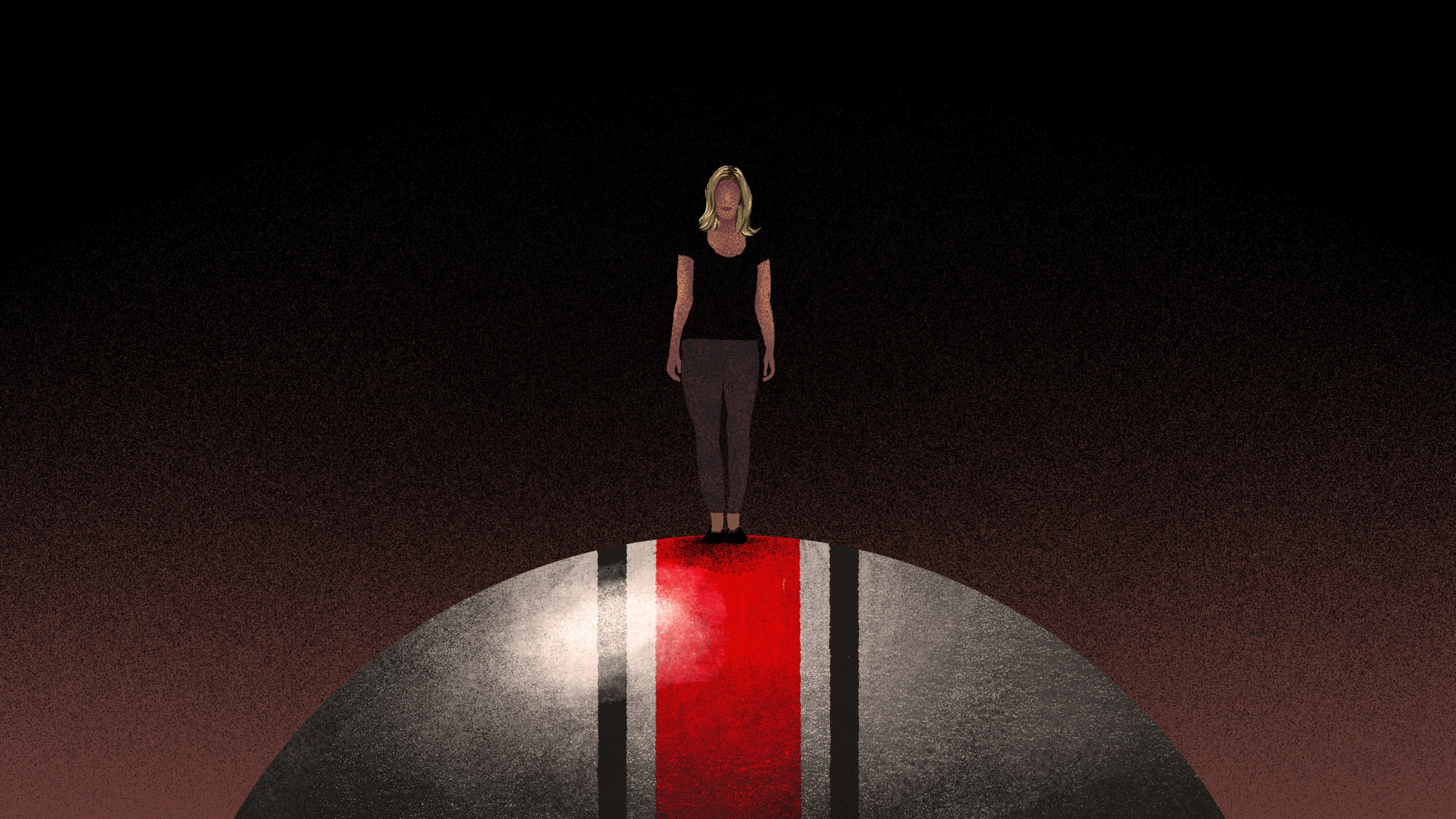 An image of a woman standing atop an Ohio State football helmet. She is very small, while the helmet fills the frame. Behind her is darkness.