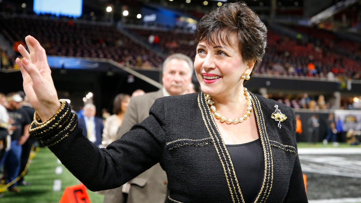 ATLANTA, GEORGIA - NOVEMBER 28: Owner Gayle Benson of the New Orleans Saints walks on the field prior to the game against the Atlanta Falcons at Mercedes-Benz Stadium on November 28, 2019 in Atlanta, Georgia. (Photo by Todd Kirkland/Getty Images)