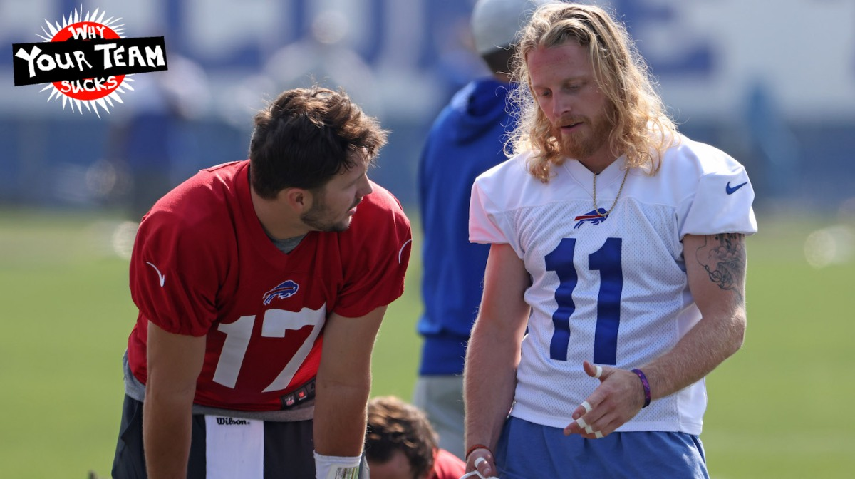 ORCHARD PARK, NY - JULY 28: Josh Allen #17 of the Buffalo Bills and Cole Beasley #11 of the Buffalo Bills talk during training camp at the Adpro Sports Training Center on July 28, 2021 in Orchard Park, New York. (Photo by Timothy T Ludwig/Getty Images)