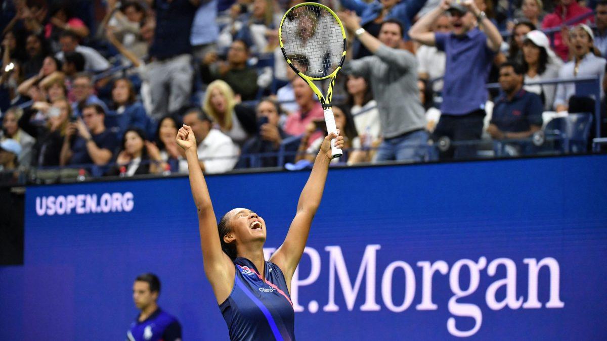 Leylah Fernandez celebrates after a third-round upset of Naomi Osaka