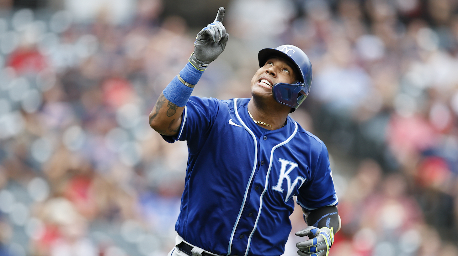 CLEVELAND, OH - SEPTEMBER 20: Salvador Perez #13 of the Kansas City Royals celebrates after hitting a two run home run off Triston McKenzie #24 of the Cleveland Indians in the fifth inning during game one of a doubleheader at Progressive Field on September 20, 2021 in Cleveland, Ohio. Perez hit his 46th home run off the season setting a record for home runs by a catcher.(Photo by Ron Schwane/Getty Images) *** Local Caption *** Salvador Perez