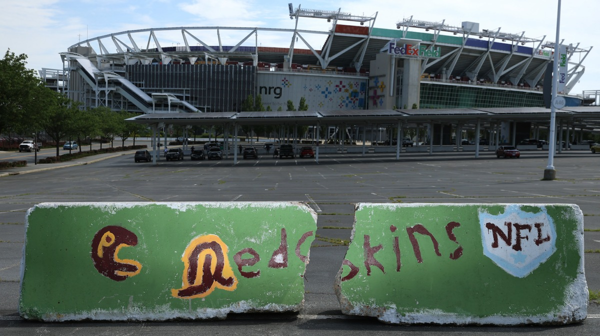 LANDOVER, MARYLAND - JULY 13: Hand painted concrete barriers stand in the parking lot of FedEx Field, home of the NFL's Washington Redskins team July 13, 2020 in Landover, Maryland. The team announced Monday that owner Daniel Snyder and coach Ron Rivera are working on finding a replacement for its racist name and logo after 87 years. (Photo by Chip Somodevilla/Getty Images)