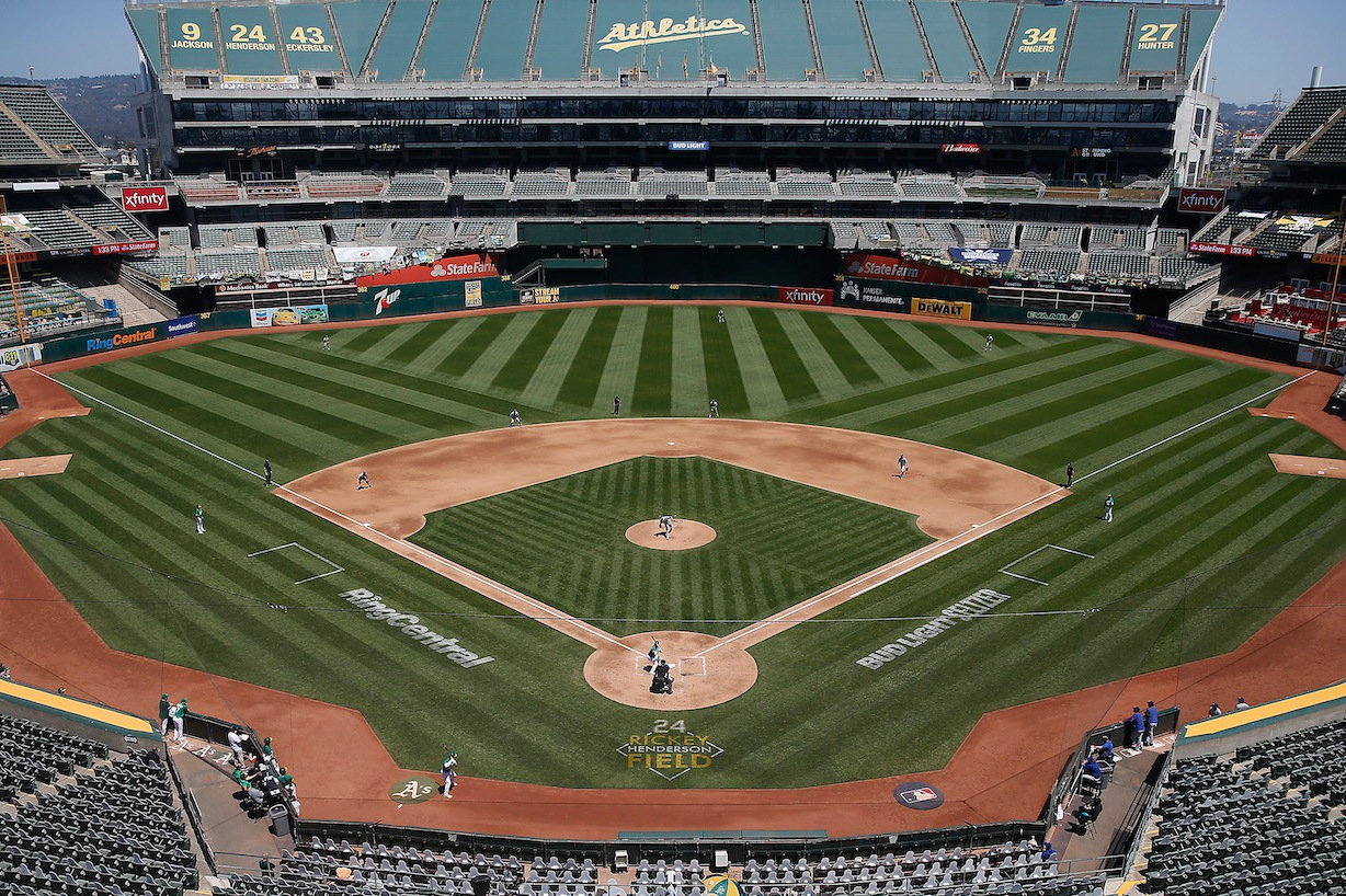 OAKLAND, CALIFORNIA - AUGUST 06: A general view of play between the Oakland Athletics and the Texas Rangers at Oakland-Alameda County Coliseum on August 06, 2020 in Oakland, California. (Photo by Lachlan Cunningham/Getty Images)