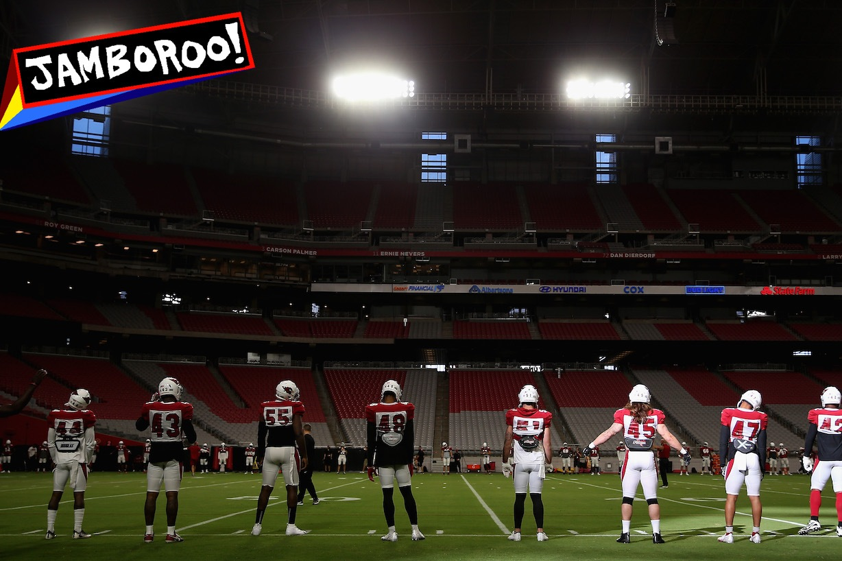GLENDALE, ARIZONA - AUGUST 17: The Arizona Cardinals warm-up during a NFL team training camp at University of State Farm Stadium on August 17, 2020 in Glendale, Arizona. (Photo by Christian Petersen/Getty Images)