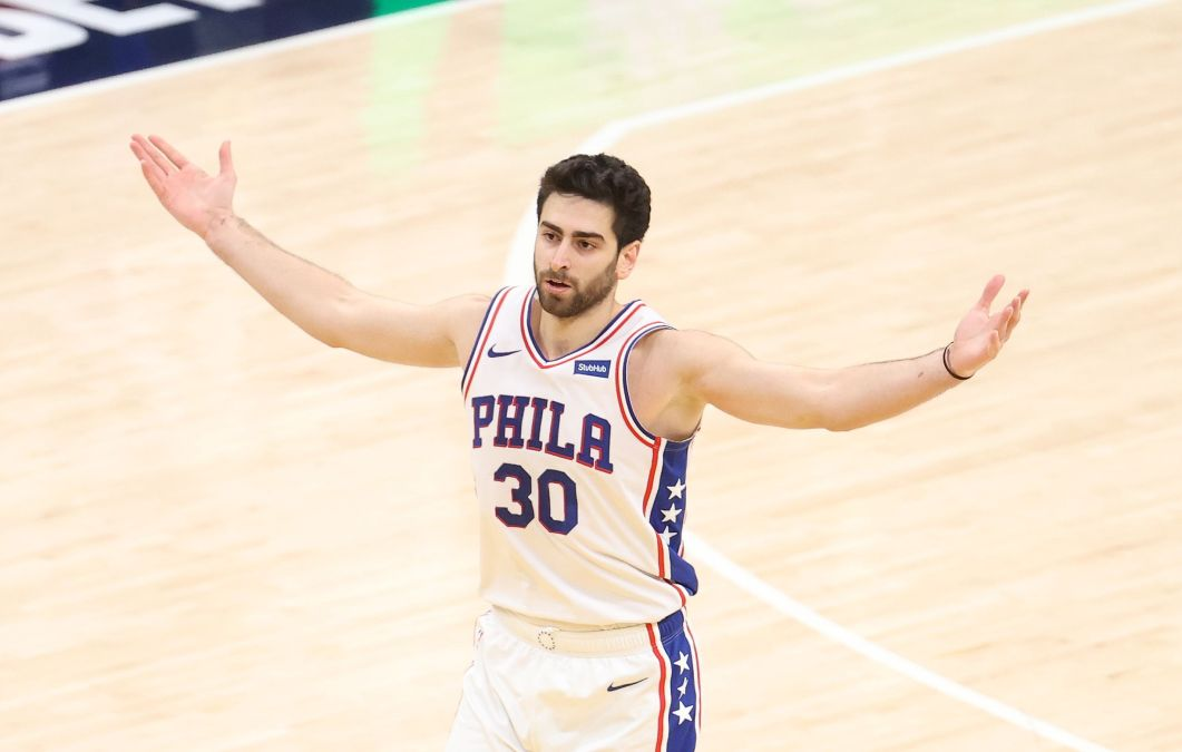 Furkan Korkmaz #30 of the Philadelphia 76ers celebrates in the game against the Indiana Pacers at Bankers Life Fieldhouse on January 31, 2021 in Indianapolis, Indiana.
