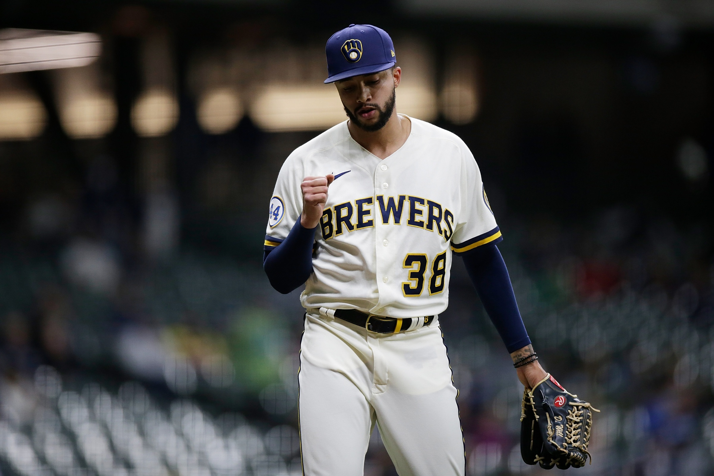 Brewers reliever Devin Williams, seen here pumping his fist after getting an out against the Marlins in April.