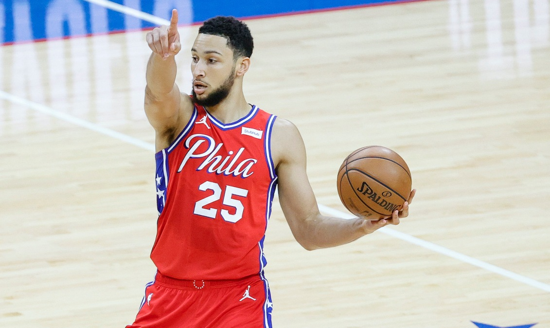 PHILADELPHIA, PENNSYLVANIA - JUNE 06: Ben Simmons #25 of the Philadelphia 76ers directs teammates during the first quarter against the Atlanta Hawks during Game One of the Eastern Conference second round series at Wells Fargo Center on June 06, 2021 in Philadelphia, Pennsylvania. NOTE TO USER: User expressly acknowledges and agrees that, by downloading and or using this photograph, User is consenting to the terms and conditions of the Getty Images License Agreement. (Photo by Tim Nwachukwu/Getty Images)