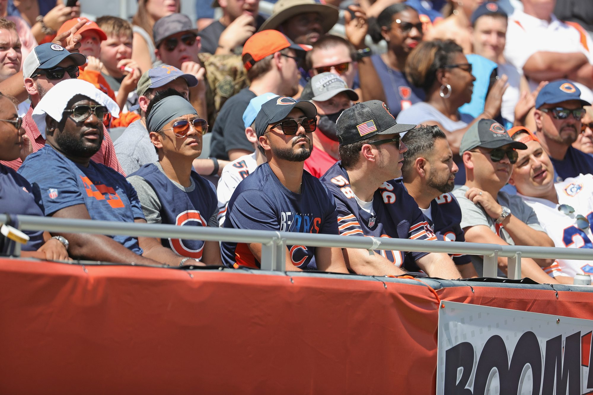 Fans watch as the Chicago Bears take on the Miami Dolphins during a preseason game at Soldier Field on August 14, 2021 in Chicago, Illinois. The Bears defeated the Dolphins 20-13.