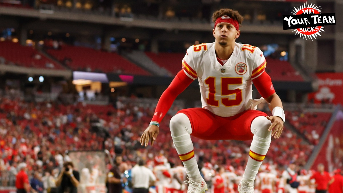 GLENDALE, ARIZONA - AUGUST 20: Quarterback Patrick Mahomes #15 of the Kansas City Chiefs warms up before the NFL preseason game against the Arizona Cardinals at State Farm Stadium on August 20, 2021 in Glendale, Arizona. (Photo by Christian Petersen/Getty Images)