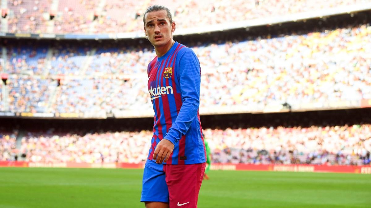 Antoine Griezmann of FC Barcelona looks on during the La Liga Santader match between FC Barcelona and Getafe CF at Camp Nou on August 29, 2021 in Barcelona, Spain.