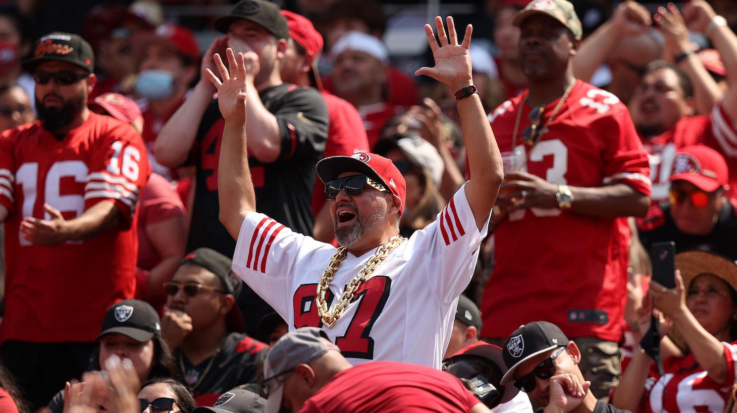 SANTA CLARA, CALIFORNIA - AUGUST 29: San Francisco 49ers fans cheer on their team during their preseason game against the Las Vegas Raiders at Levi's Stadium on August 29, 2021 in Santa Clara, California. (Photo by Ezra Shaw/Getty Images)