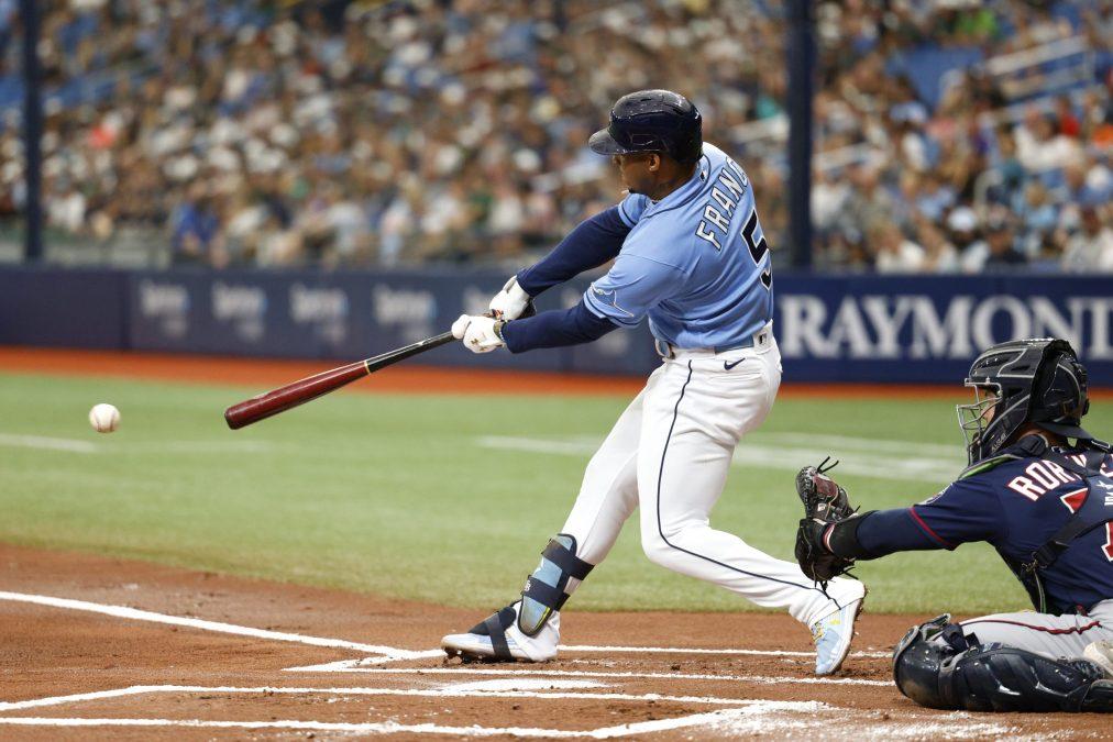 Wander Franco smites a puny baseball.