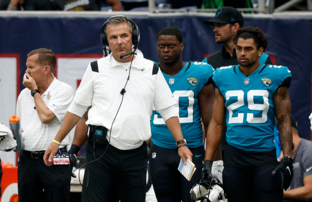Head coach Urban Meyer of the Jacksonville Jaguars looks on during the game against the Houston Texans at NRG Stadium on September 12, 2021 in Houston, Texas.