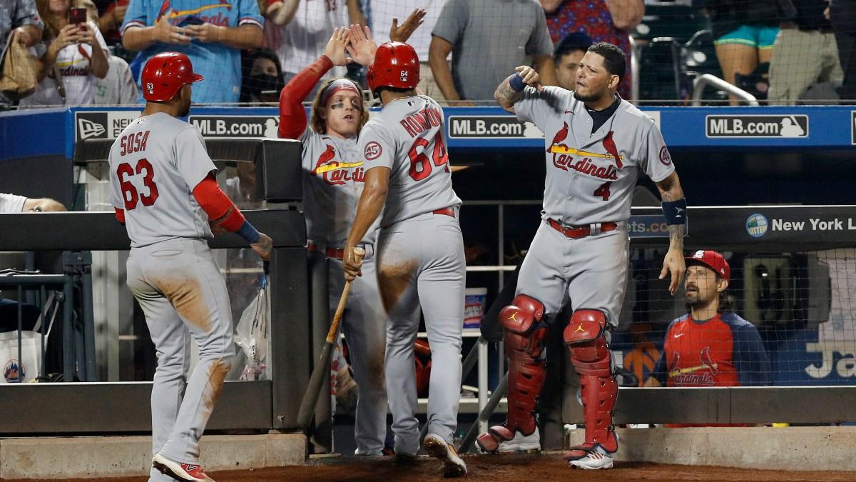 The Cardinals celebrate after scoring