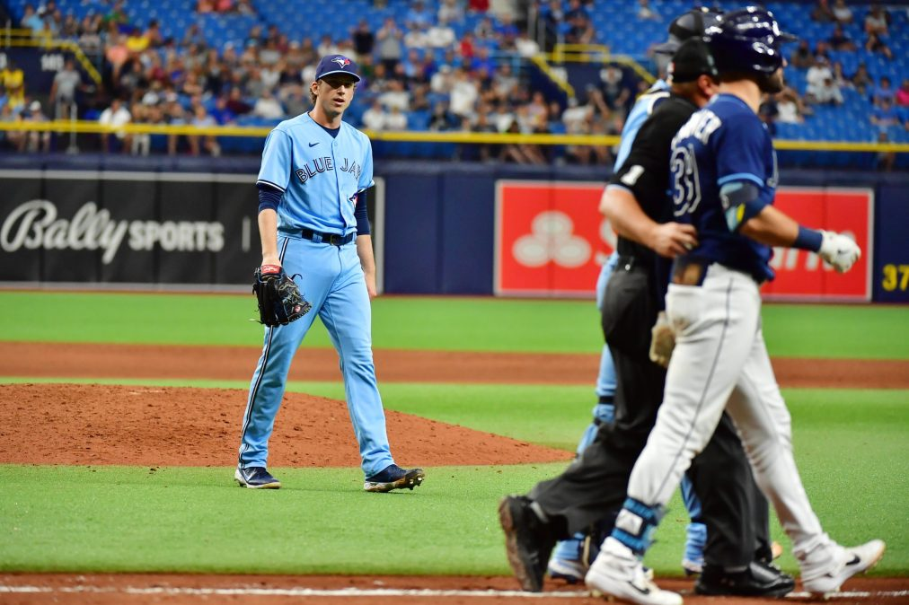 Ryan Borucki chirps at Kevin Kiermaier after plunking him in the back.
