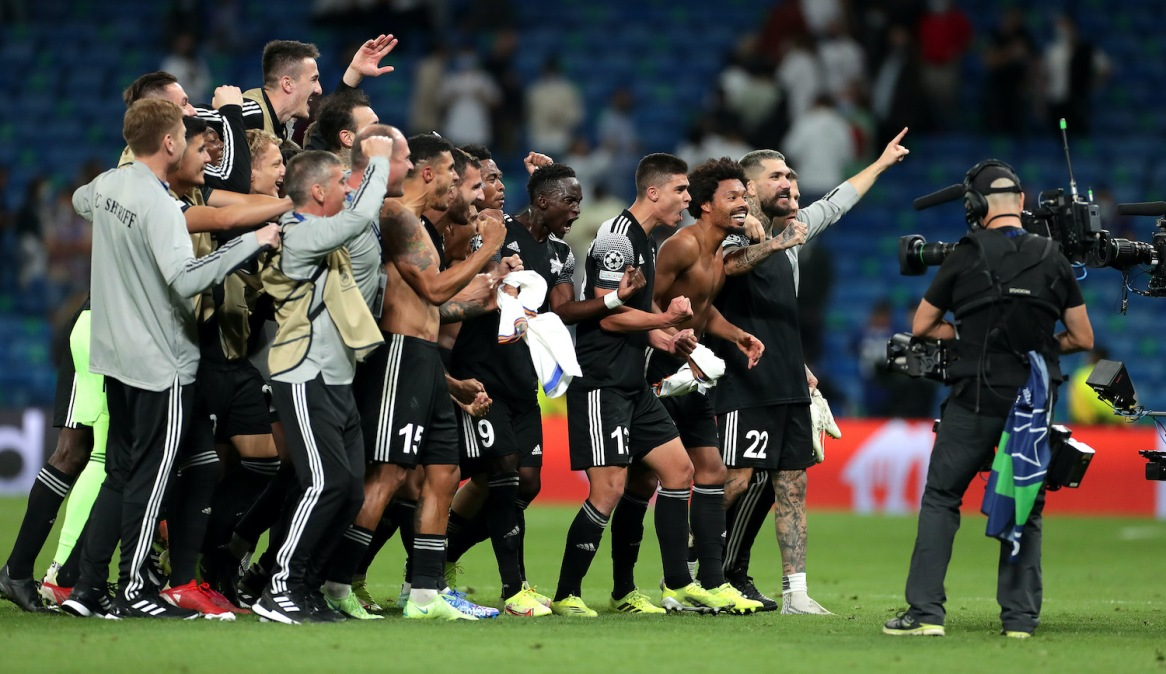 MADRID, SPAIN - SEPTEMBER 28: Players of FC Sheriff celebrate after victory in the UEFA Champions League group D match between Real Madrid and FC Sheriff at Estadio Santiago Bernabeu on September 28, 2021 in Madrid, Spain. (Photo by Gonzalo Arroyo Moreno/Getty Images)