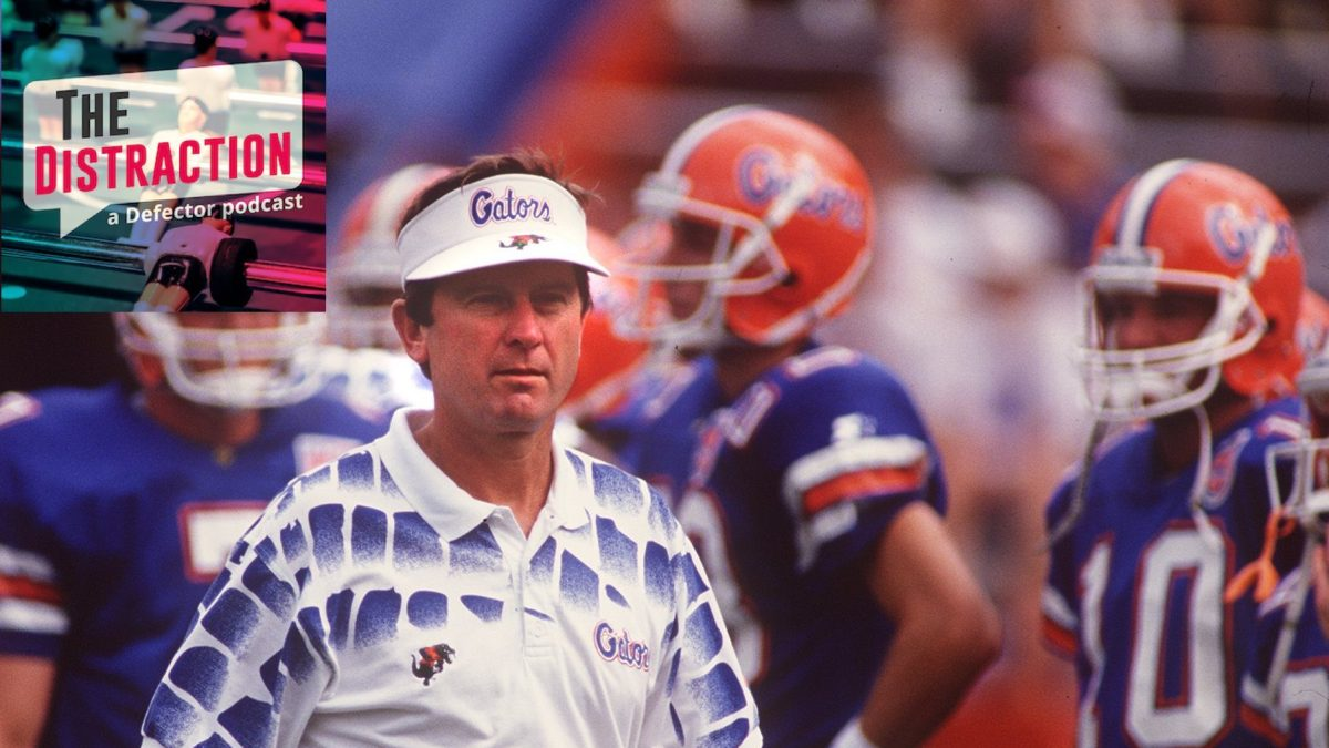 Steve Spurrier on the sidelines during a 1994 game in which his Florida Gators beat Kentucky by nearly 70 points.